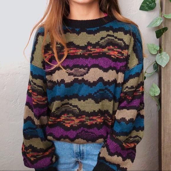 Vintage Sweaters - VTG colorful knit crewneck